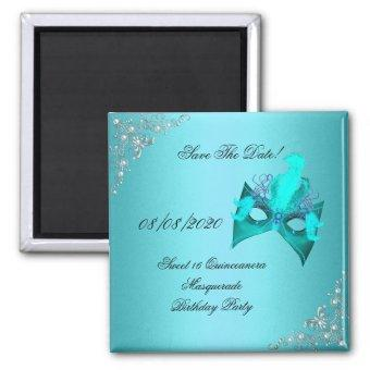 Save The Date Sweet 16 Masquerade Teal Magnet