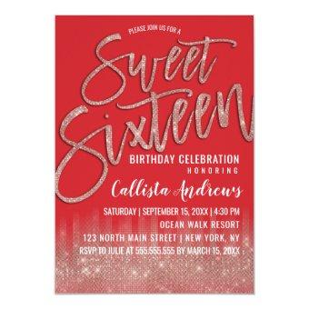 Scarlet Rose Gold Glitter Typography Sweet 16