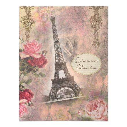 Shabby Chic Eiffel Tower & Roses Quinceanera Invitations