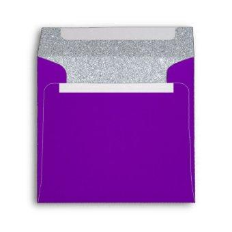 Silver and Amethyst Purple Sparkly Glitter Envelope