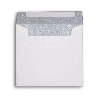 Silver and Diamond White Sparkly Glitter Envelope