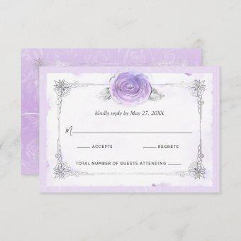 Silver and Light Purple Roses Elegant RSVP Card