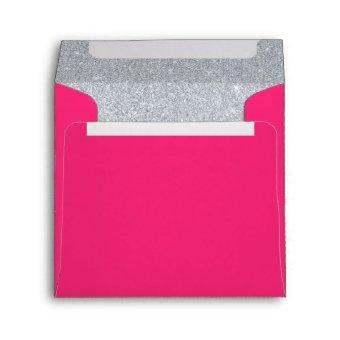 Silver and Rose Tourmaline Pink Sparkly Glitter Envelope