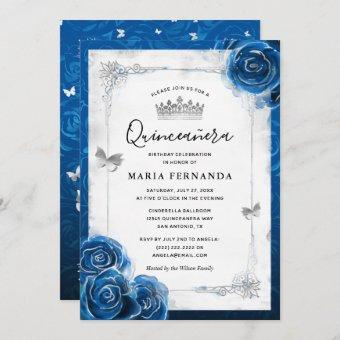 Silver and Royal Blue Roses Elegant