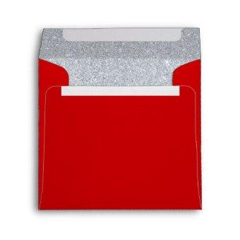 Silver and Ruby Red Sparkly Birthday Envelope