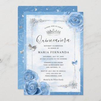 Silver Bahama Blue Roses Elegant
