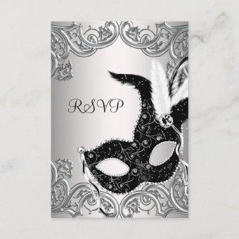 Silver Black Mask Masquerade Party RSVP