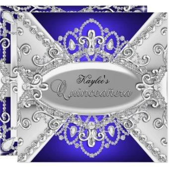 Silver & Blue Diamond Damask Invite