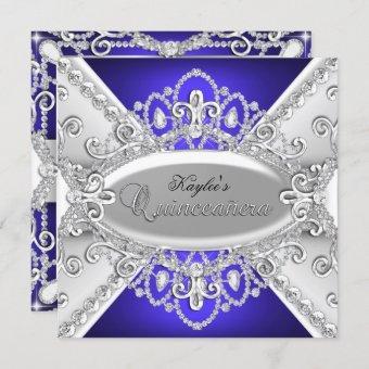Silver & Blue Diamond Damask Invite
