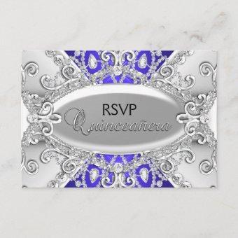 Silver & Blue Diamond Damask RSVP