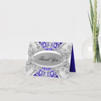 Silver & Blue Diamond Damask Thank You