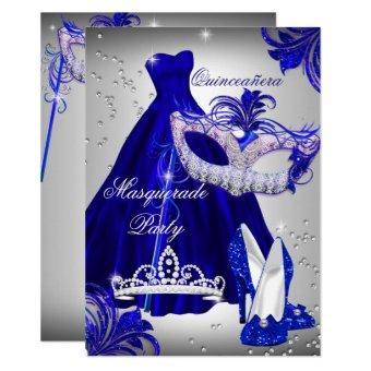 Silver & Blue Dress masquerade Invite