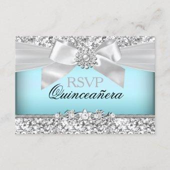 Silver Blue Glitter & Jewel Bow RSVP