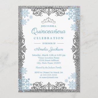 Silver Blue Sparkle Snowflake Invite