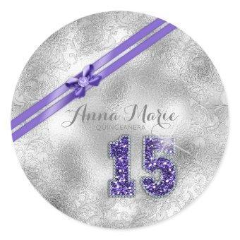 Silver Brocade Fifteenth Birthday Purple ID382 Classic Round Sticker