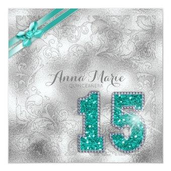 Silver Brocade Birthday Teal ID382