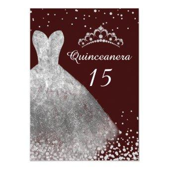 Silver Dress Gown Burgundy Party 15th