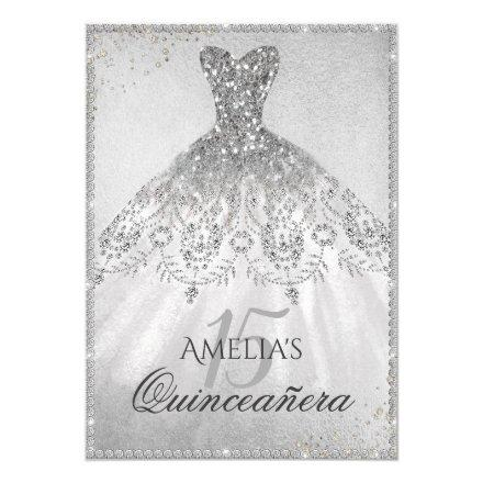 Silver Dress Sparkle Quinceanera Invitation