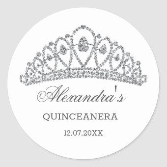 Silver glitter effect tiara Classic Round Sticker