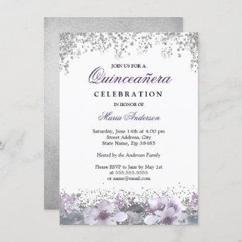 Silver Glitter Floral Purple Invite