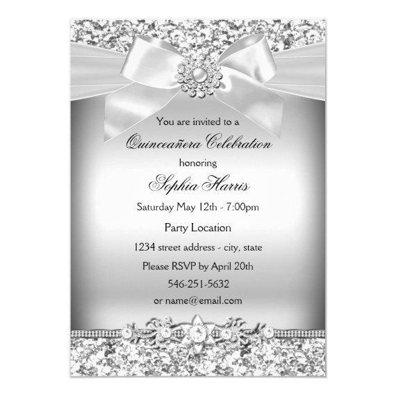 Silver Glitter & Jewel Bow
