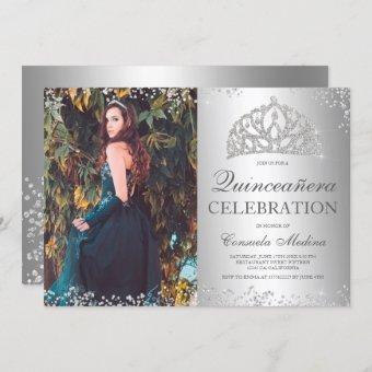 Silver glitter metallic photo tiara Quinceañera