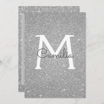 Silver Glitter Monogram Sparkle