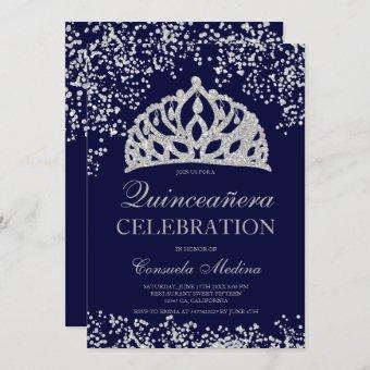 Silver glitter navy blue crown tiara Quinceañera