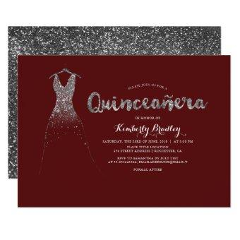Silver Glitter Sparkle Dress Burgundy Quinceañera