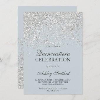 Silver glitter sparkles dusty blue Quinceañera