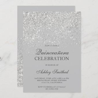 Silver glitter sparkles gray chic Quinceañera