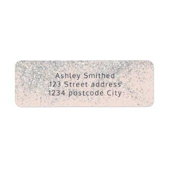 silver glitter typography blush pink return label