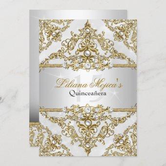 Silver & Gold Pearl Damask Invite
