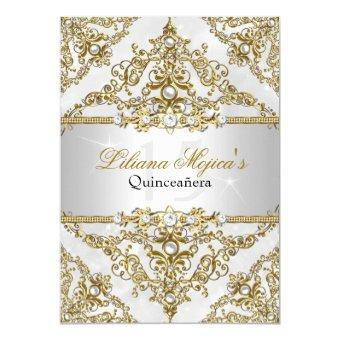 Silver & Gold Pearl Damask Invite