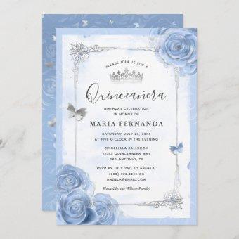 Silver Light Baby Blue Roses Elegant