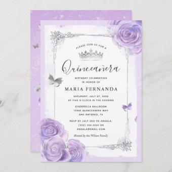 Silver Light Purple Roses Elegant