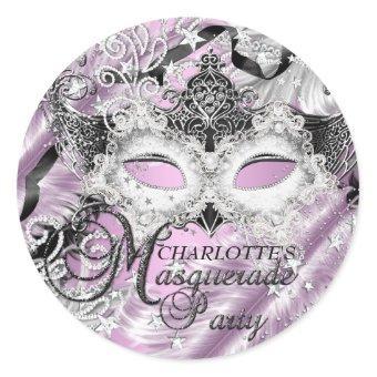 Silver Lilac Sparkle Mask Masquerade Sticker