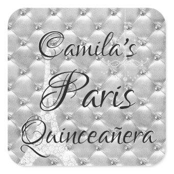 Silver Paris Quinceañera Celebration Square Sticker