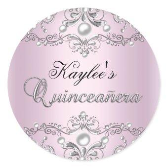 Silver & Pink Damask Pearl Sticker