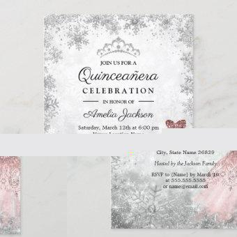 Silver Pink Dress Snowflakes Winter