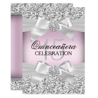 Silver Pink Glitter & Jewel Bow Invite