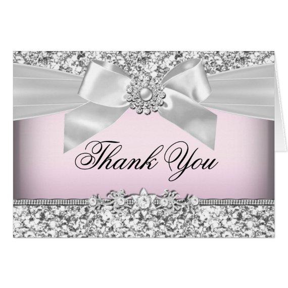 Silver Pink Glitter & Jewel Bow Thank You