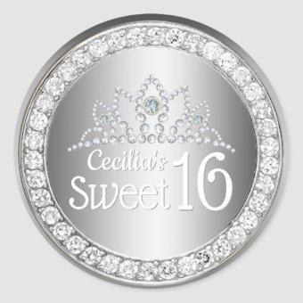 Silver Princess Diamond Tiara Sweet 16 Classic Round Sticker