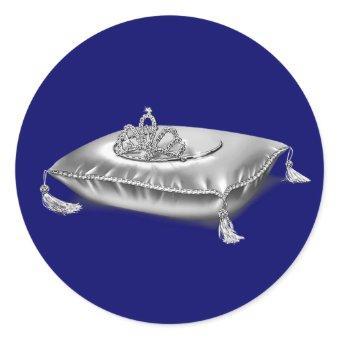 Silver Princess Tiara Classic Round Sticker