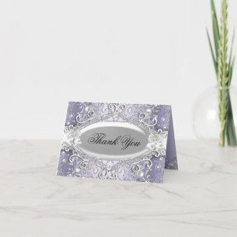 Silver & Purple Damask Pearl Thank You