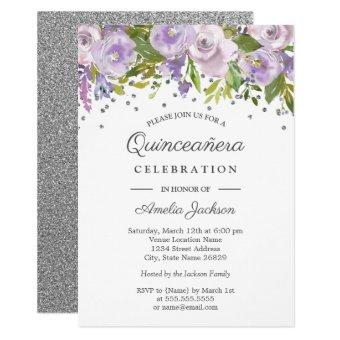 Silver Purple Floral Watercolor Invite
