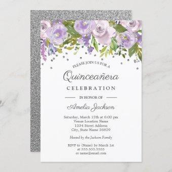 Silver Purple Floral Watercolor Invite