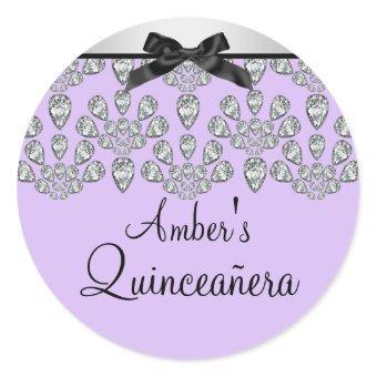 Silver/Purple Forever Diamonds Quinceañera Sticker