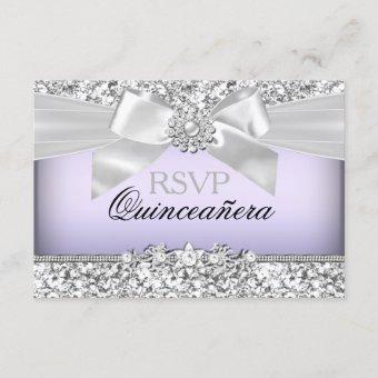 Silver Purple Glitter & Jewel Bow RSVP