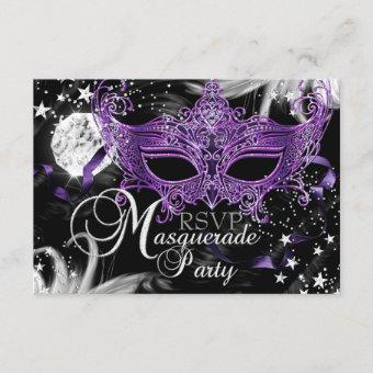 Silver Purple Mask Star Night Masquerade RSVP